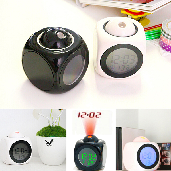 Multifunction LCD Talking Projection Alarm Clock Time & Temp Display