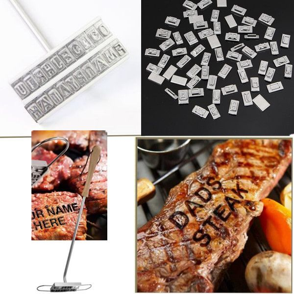 Honana Barbecue ID Branding Iron Tools With Changeable 55 Letters BBQ Steak Meat Branding Iron