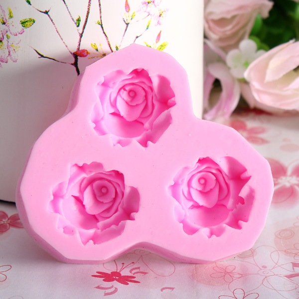 3 Flower Silicone Fondant Mold Cake Decorating Sugarcraft Mould