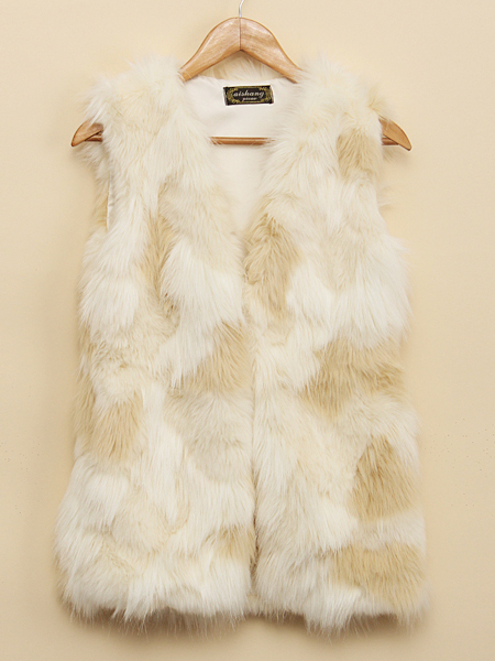 Women Fashion Sleeveless Pure Color Imitation Fur Jacket Vest