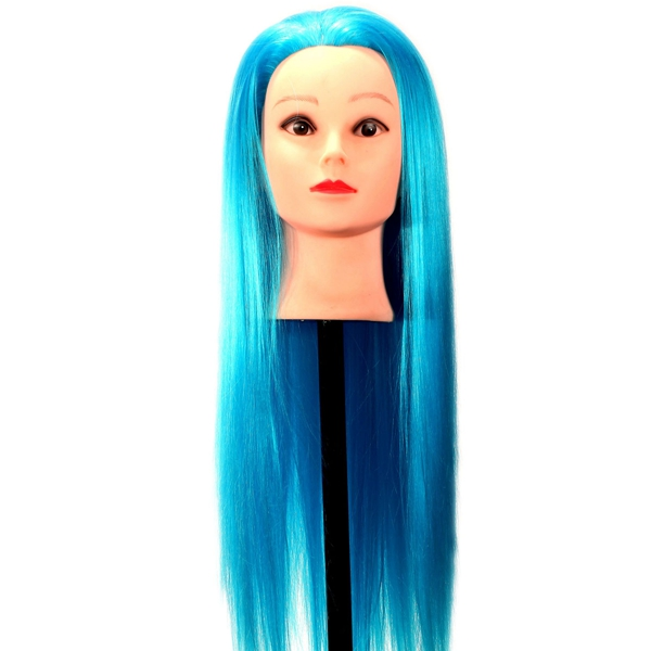 Blue Synthetic Long Hair Hairdressing Training Mannequin Head