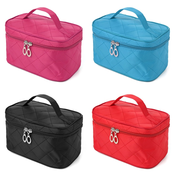 4 Colors Portable Makeup Cosmetic Case Storage Handbag Travel Bag Features: Compact cosmetic bag will organize your beauty essentials neatly in place Big dual zipper opening for easy access to your makeup items Slots and wide elastic strap on the inner si #handbag