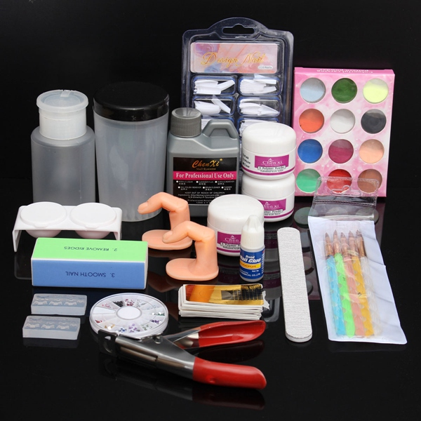Glitter Acrylic Powder Manicures File Tips Nail Art Set