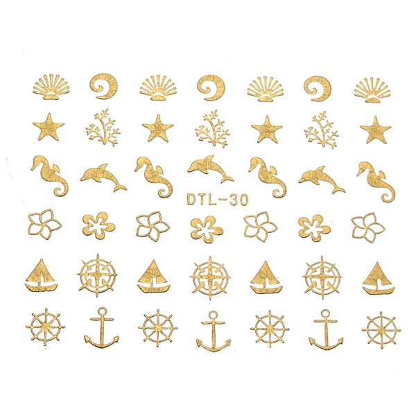 Gold Flower Rose Diamond Star Nail Art Sticker Decal Decoration