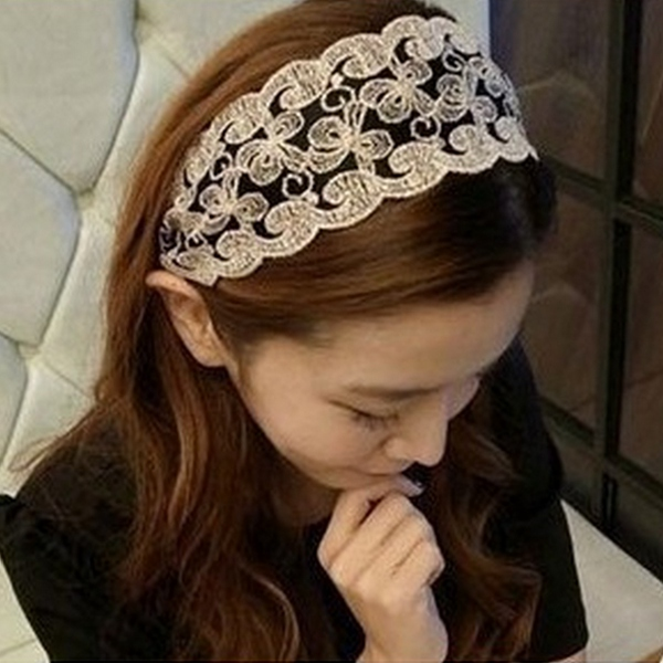 Vintage Womens Girls Lace Headbrand Hair Bow Hair Band Accessories