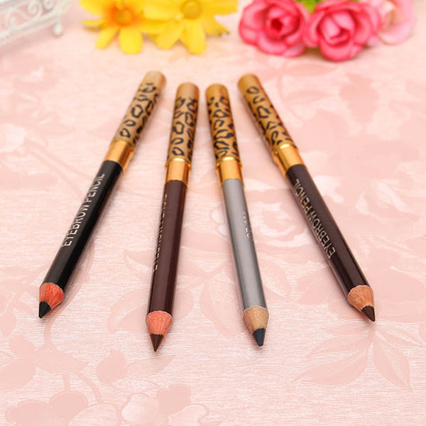 4 Colors 2 in 1 Makeup Eye Liner Eyebrow Pencil Pen Brush Cosmetic