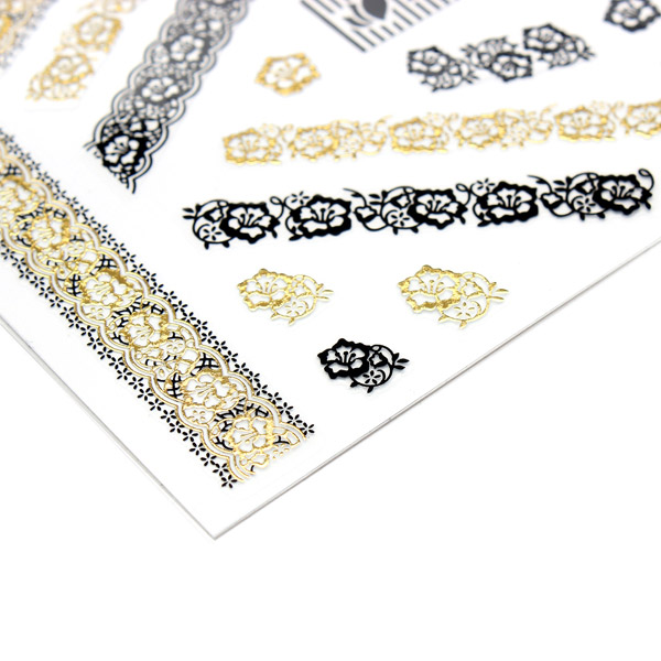 Gold Black Lace Flower Adhesive Nail Art Sticker Decal