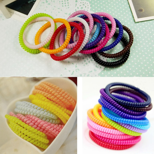 Colorful Elastic Wire Hair Phone Cord Tie Band Hair Band
