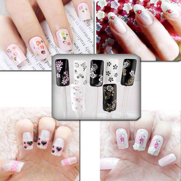 50 Sheet 3D Mixed Styles Flower Design Tip Decal Nail Art Stickers
