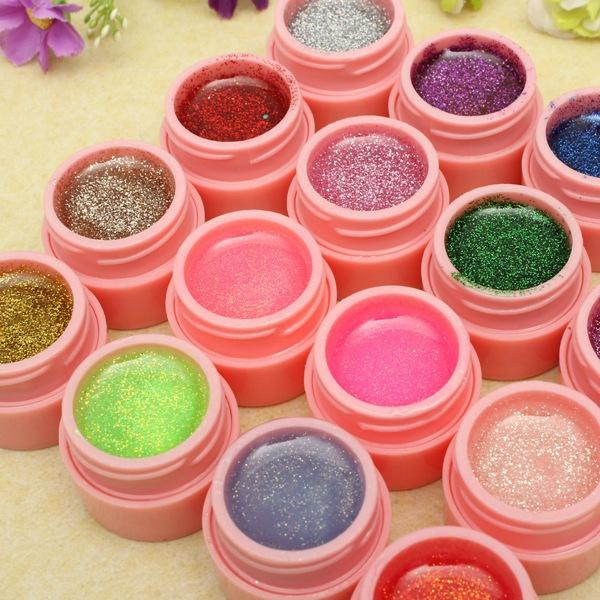 16 Pots Glitter Powder UV Builder Gel Nail Art Decoration Set