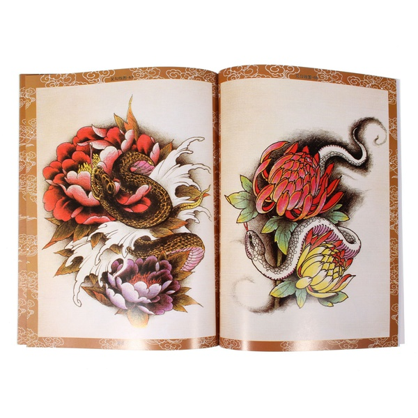 70 Pages Oriental Style Skull Ghost Snake Design Sketch Tattoos Book