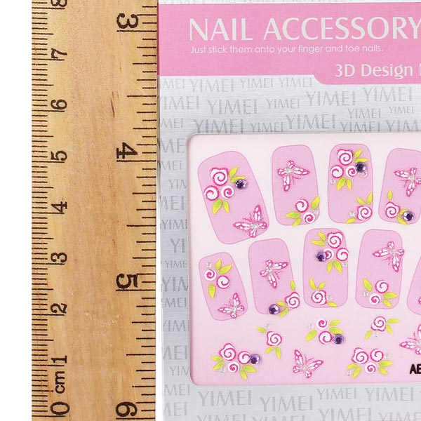 3D Flower Butterfly Rhinestone Nail Decal Sticker