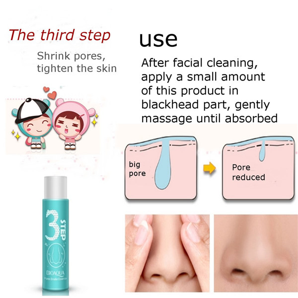 BIOAQUA 3 Steps Blackhead Remover Nose Mask Pores Smaller Essence Liquid Set Facial Skin Care