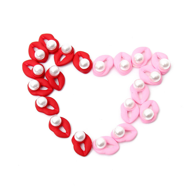 10Pcs Cute Red Pink Pearls Lip-shaped Nail Art Decoration Beads
