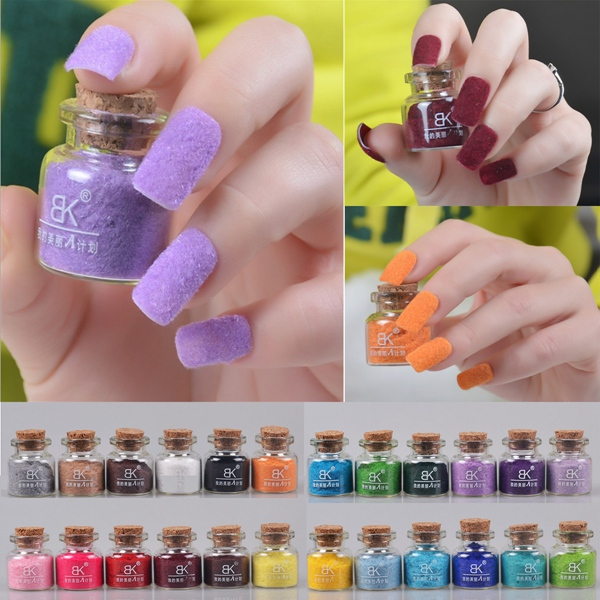 24 Colors Velvet Flocking Nail Art Powder Dust Decoration Glass Pot