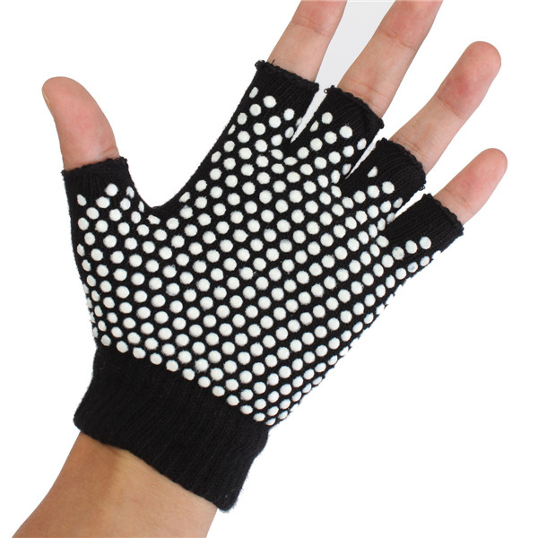 Breathable Non-slip Cotton Fingerless Yoga Gloves