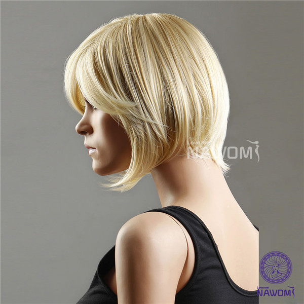 NAWOMI Short Bobo 100% Kanekalon Synthetic Hair Wig Oblique Bangs Women Capless