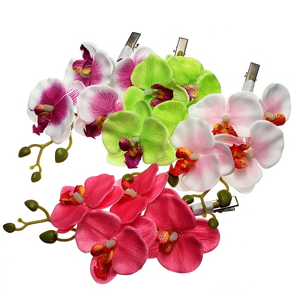 Orchid Hairpin Flower Hair Clip Headdress Accessory