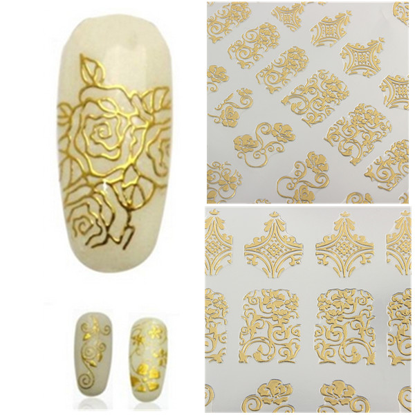 108Pcs Gold Rose Flowers Nail Art Manicures Stickers De