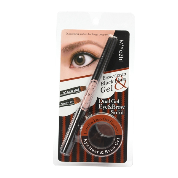 Dual Gel Eyeliner Eyebrow Cream Solid Double-ends Eye Makeup Brush Kit