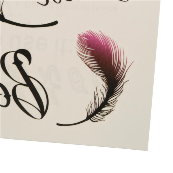 Sexy Women Rose Red Feathers Waterproof Temporary Tattoo Sticker