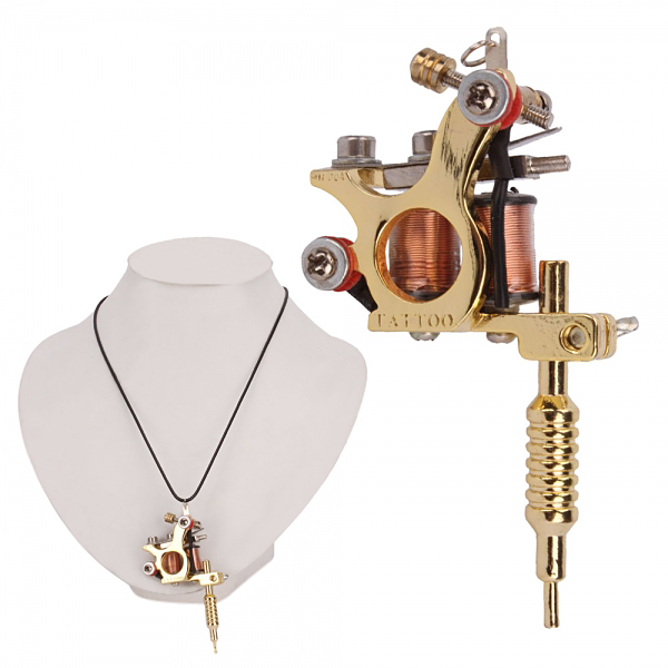 OCOOCOO Golden GS100 Fashion Mini Tattoo Machine Pendant Toy with Chain Necklace