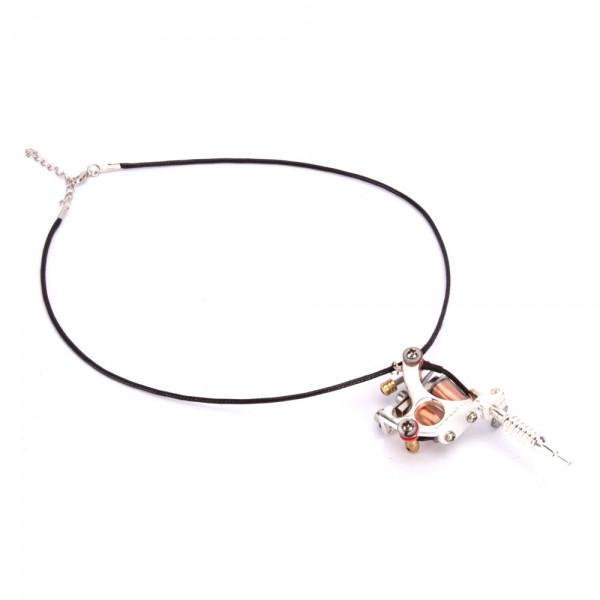 Silver GS100 Fashion Mini Tattoo Machine Pendant Toy with Chain Necklace