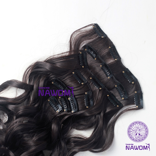 7Pcs NAWOMI Body Wave Heat Resistant Friendly Clip In Synthetic Hair Extension 21.65 Inch #4 Brown