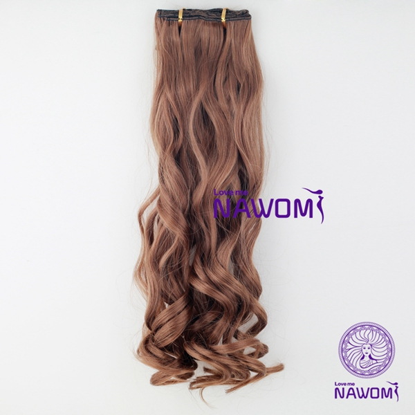 7Pcs NAWOMI Body Wave Heat Resistant Friendly Clip In Synthetic Hair Extension 21.65 Inch #6 Brown