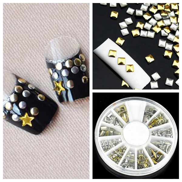 6 Styles Mix Shape Gold Silver Alloy Stud Nail Art Decoration Wheel