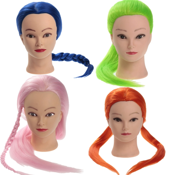 27 Inch 100% KANEKALON High-temperature Hair Training Mannequin Head Salon Practice