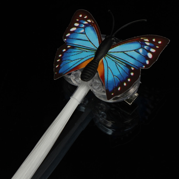 Butterfly LED Flashing Optic Light Up Hair Extension Fiber Barrette Clip Glow In Dark
