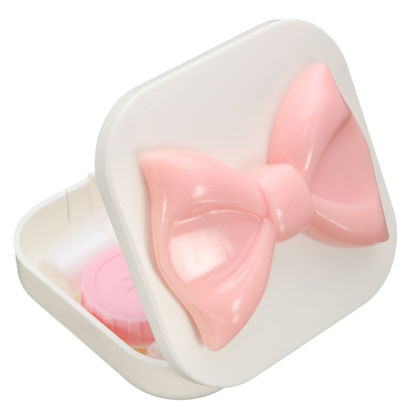 Resin Bowknot Contact Lenses Container Box Mirror Tweezers Lens Holder