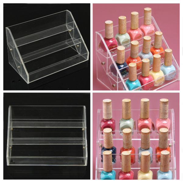 3 Tiers Acrylic Nail Polish Display Stand Cosmetic Cont