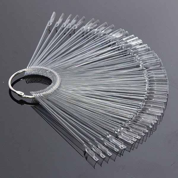 50PCS Transparent Detachable Nail Display Tool Foldable Fan Board