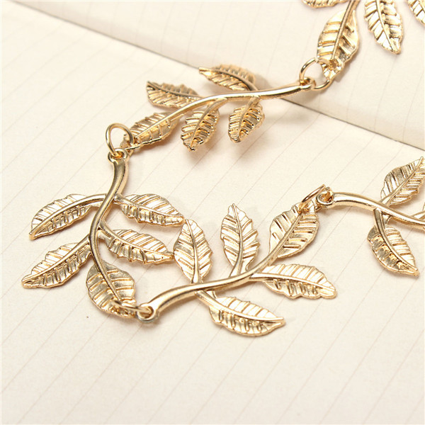 Hair Band Gold Alloy Branch Leaves Headbrands Elastic Hair Accessories Jewelry