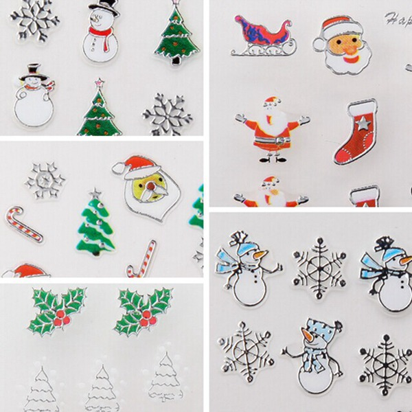 Metal Silver 3D Christmas Series Snowflake Gift Nail Art Sticker