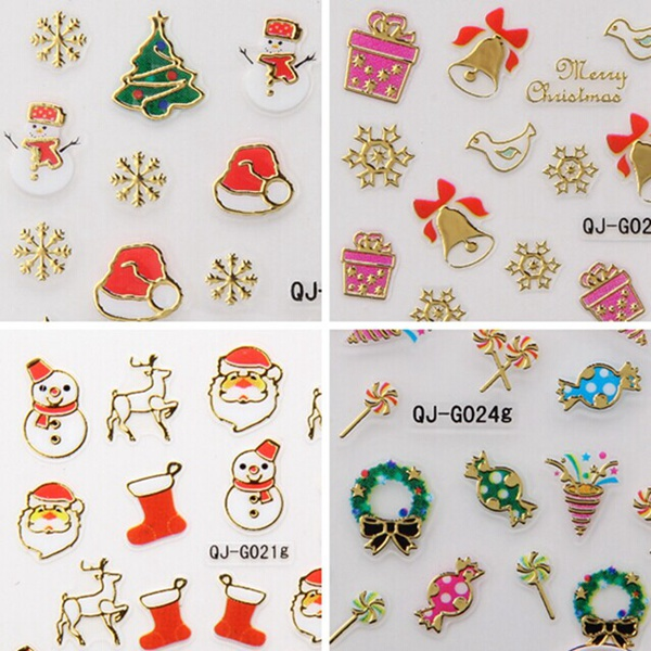 Metal Gold 3D Christmas Series Snowflake Gift Nail Art Sticker