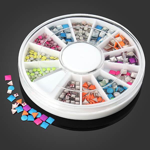 Fluorescence Color Metal Stud DIY Nail Art Decoration Wheel