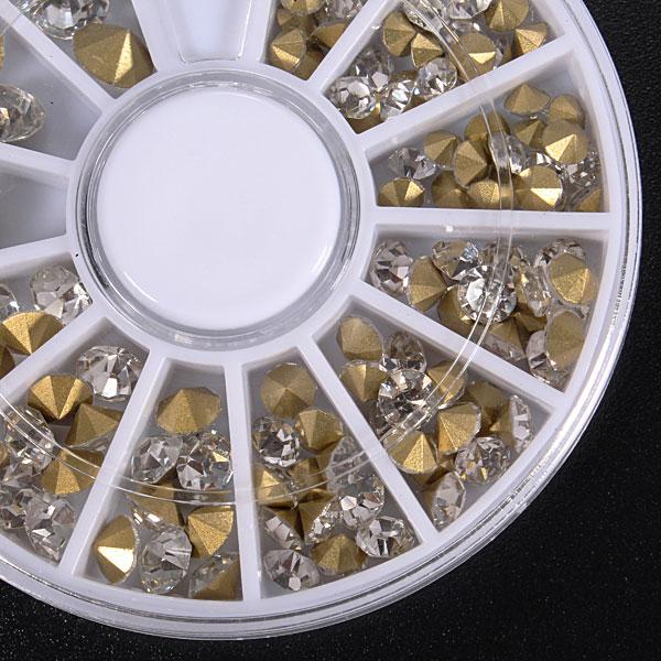 3D Gems Cone Gold Stud Crystal Nail Art Decoration Wheel