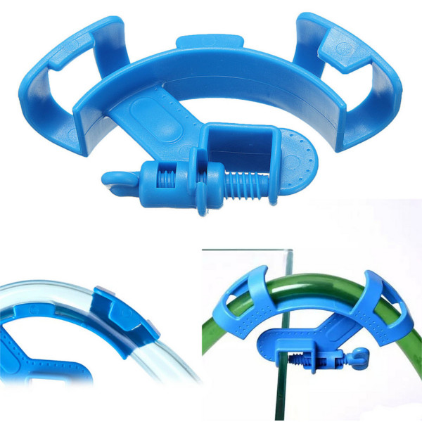 Aquarium Fish Tank Water Pipe Filter HosE-mount Tube Holder Blue