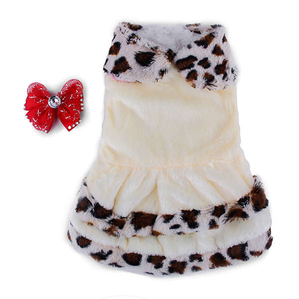 Pet Clothes Leopard Print Noble Elegance Coat Bowtie Winter Autumn