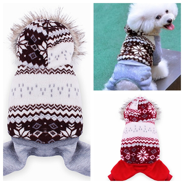 Pet Snowflake Pattern Double Layer Wear Coat Jumpsuit Clothes Winter