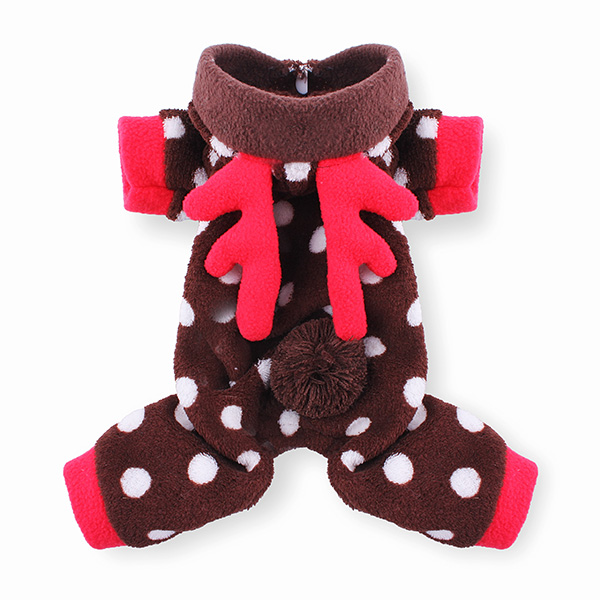 Winter Cat Dog Coat Dot Deer Design Pet Dog Cat Clothes Jumpsuit
