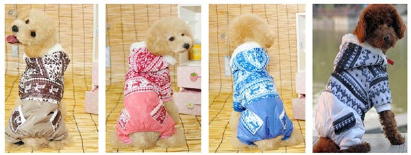 Christmas Snowflake Pocket Pet Hoodie Jumpsuit Dog Cat Coat