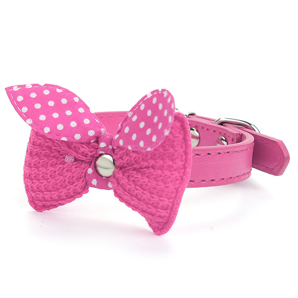 Adjustable Cat Dog Pet Bowknot Leather Collar