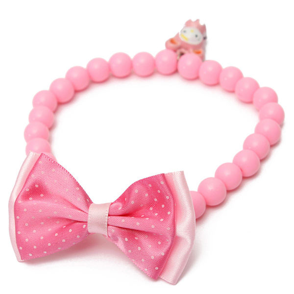 Pet Dog Cat Jewelry Beads Bell Bowknot Collar Necklace Pink