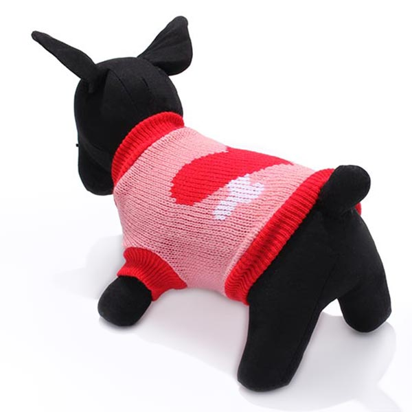 Red Heart Bone Pet Dog Knitted Breathable Sweater Pink