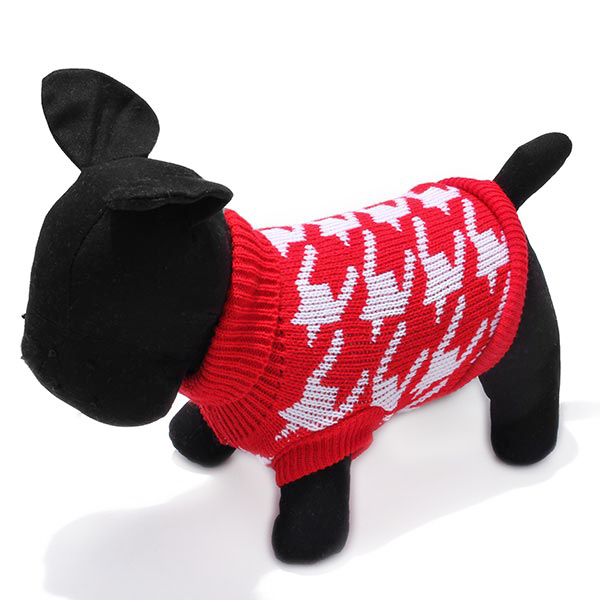 Pet Dog Knitted Breathable Sweater Outwear Apparel Red Black