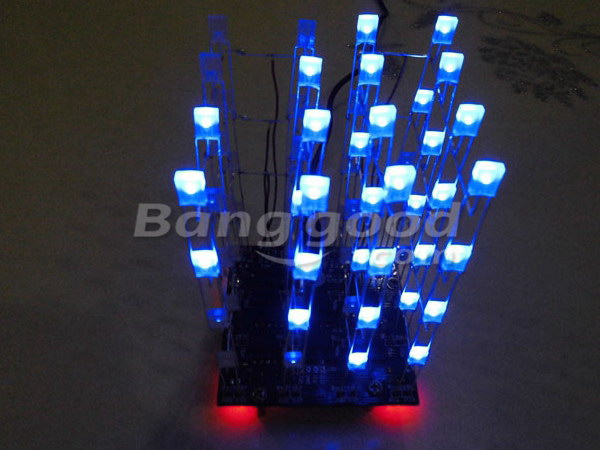 DIY 4x4x4 LED Cube Blue Red LED Electronic Learning Kit